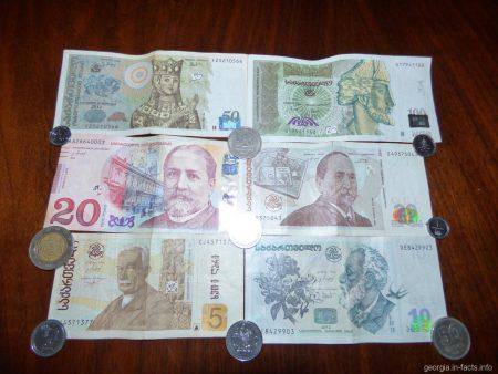 Деньги Грузии. Купюры и монеты. Лари и тетри