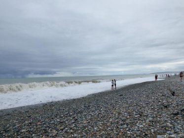 Черное море у берегов Батуми во время шторма