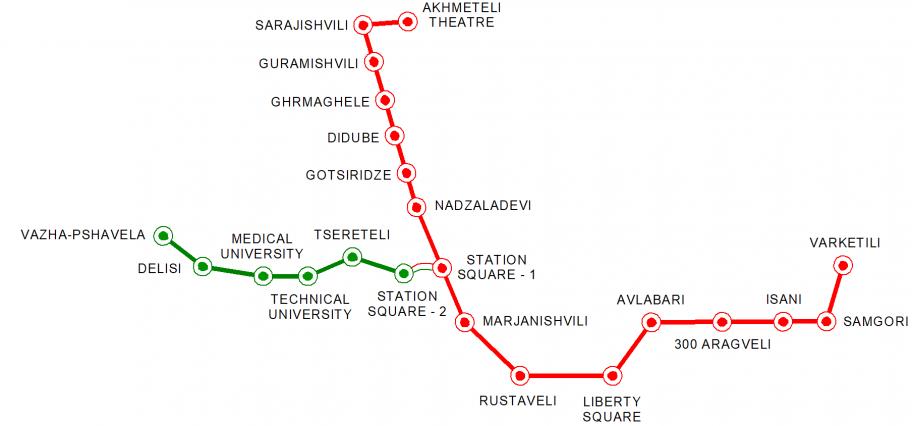 Схема метро Тбилиси со станциями