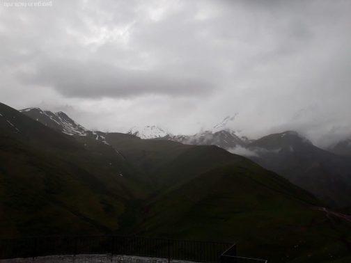 Казбек в дождевую погоду, Грузия