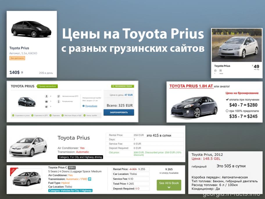 Цены на Toyota Prius с разных грузинских сайтов