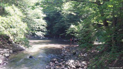 Спокойная летняя река в Боржоми Грузия
